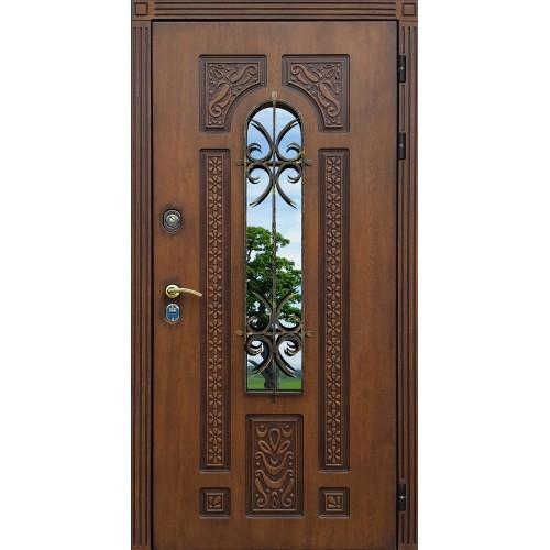 металлические двустворчатые двери с ковкой