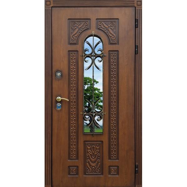уличная дверь Лацио 7МК Персона с окном и ковкой