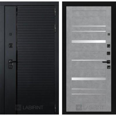 Входная дверь Labirint PIANO 20 - Бетон светлый, зеркальные вставки