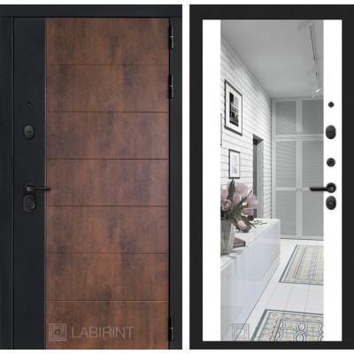 Входная дверь Labirint  ТЕХНО с зеркалом Максимум - Белый софт
