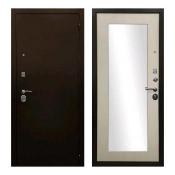 """входная дверь Ратибор Оптима 3К с зеркалом """"Лиственница бежевая"""""""