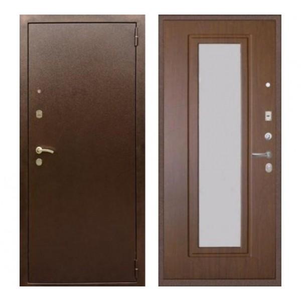 """входная  дверь с зеркалом,Rex 1А  Цвет """"Орех тисненый"""""""