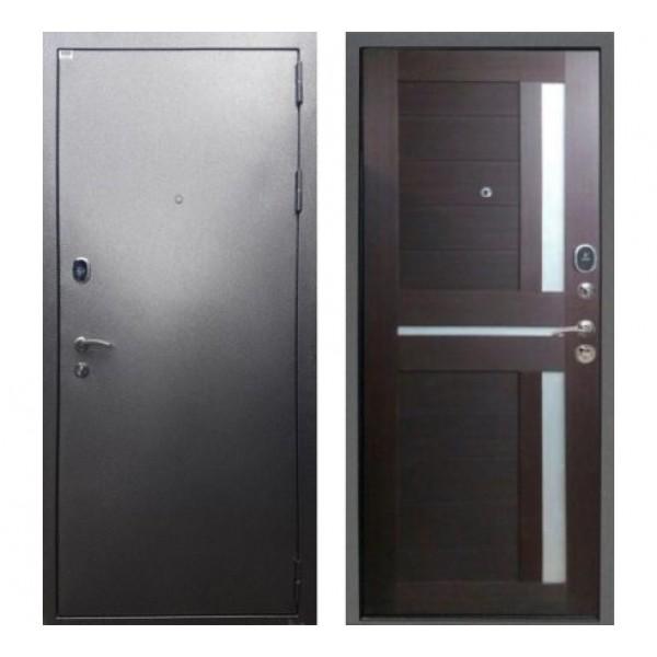 """входная  дверь Rex Титан СБ-18 """"Серебро антик / Орех темный рифленый"""""""
