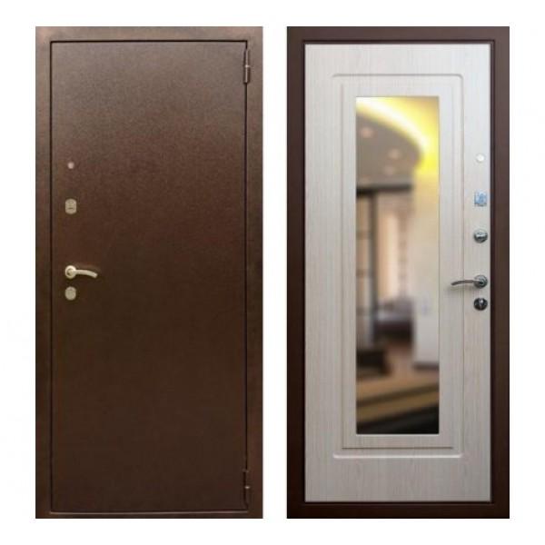 """входная  дверь с зеркалом Rex 1А , Цвет """"Беленый дуб"""""""