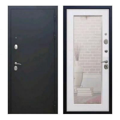 дверь Rex 1А Пастораль с зеркалом (Черный муар / Ясень белый)