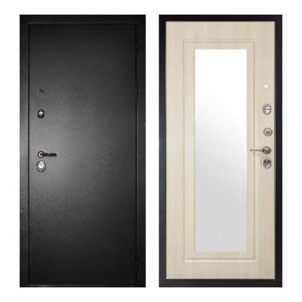 """входная дверь с зеркалом Сударь МД-26 """"Серебро / Беленый дуб"""""""