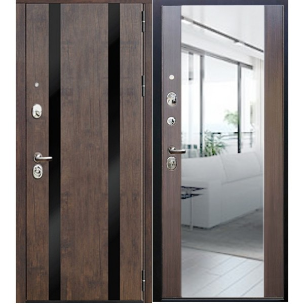 Входная дверь  с зеркалом Персона Гранд Премиум Тиковое дерево