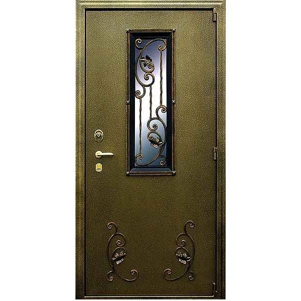 Уличная дверь с окном и ковкой Элегия