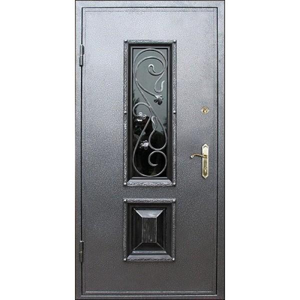 Уличная дверь с окном и ковкой №120