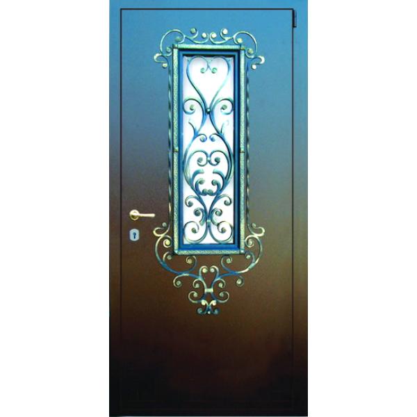Уличная дверь для дома с ковкой Амор