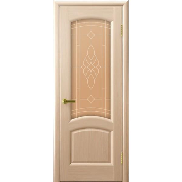 межкомнатная дверь Лаура (беленый дуб, стекло)