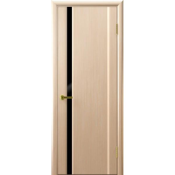 дверь шпон СИНАЙ-1 (белый дуб, стекло черное)