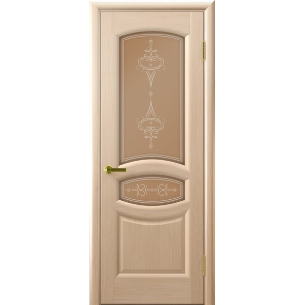 двери шпон АНАСТАСИЯ(белый дуб, стекло) Люкор