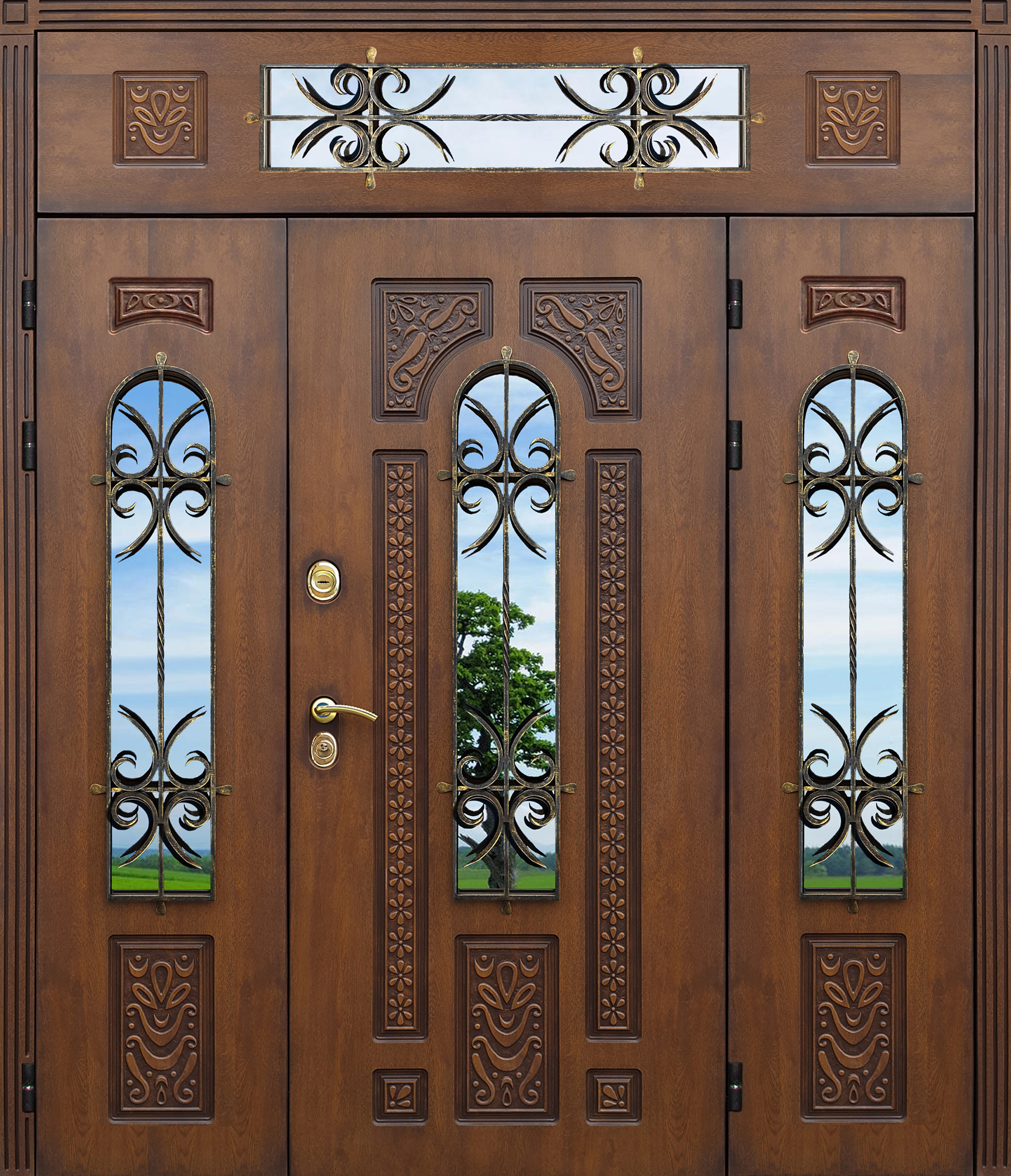 распашные входные двери с остеклением