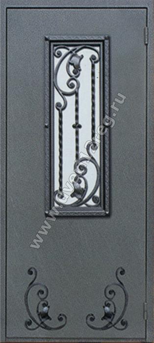 металлические двери со стеклопакетом и кованными элементами