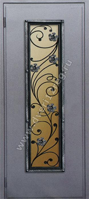 стальные двери с о стеклопакетом и ковкой
