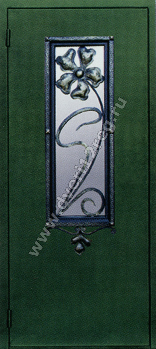 дверь синяя металлическая с ковкой