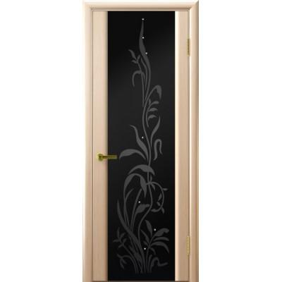 межкомнатная дверь Трава-2(Беленый дуб, стекло)