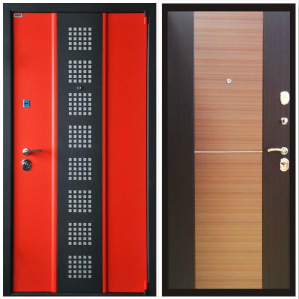 Металлическая дверь Персона -3 Красный и чёрный шёлк