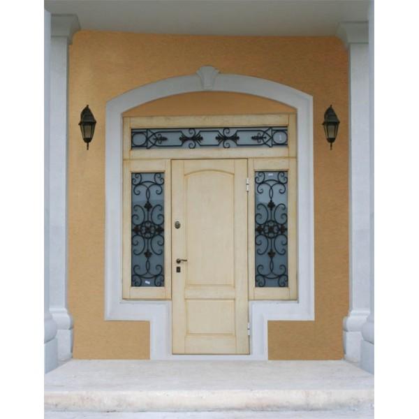 Входная дверная группа №3 Персона с окнами и ковкой